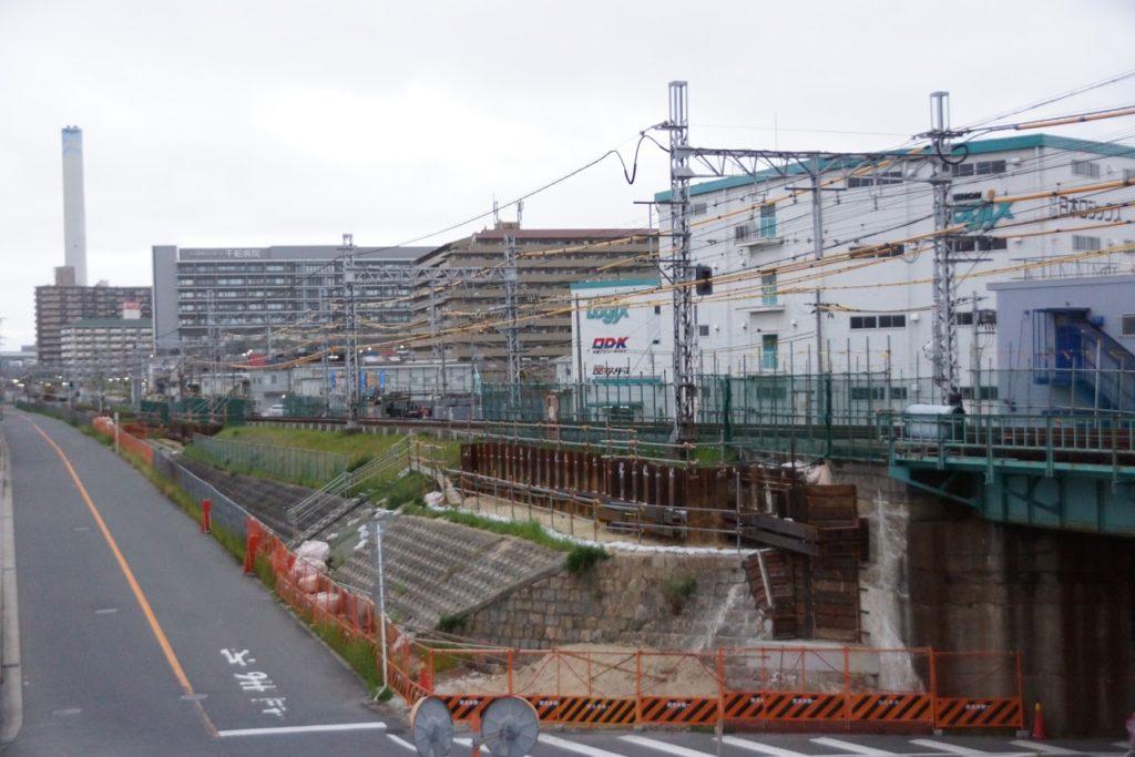 淀川橋梁の架け替え工事・阪神なんば線(2020~21年・冬の様子)